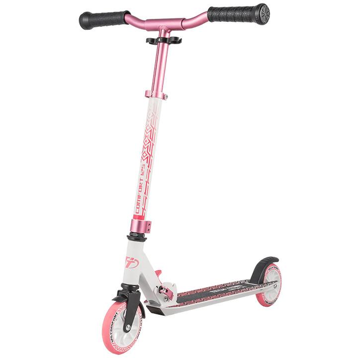 Купить Comfort 125 2021, Городской самокат Tech Team 125 Comfort, цв. бело-розовый, Самокаты детские двухколесные