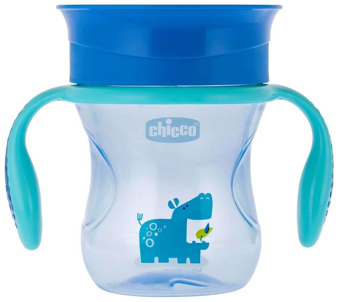 Купить Чашка-поильник Chicco Perfect Cup носик 360, 266 мл, Голубой с бегемотиком, Поильники
