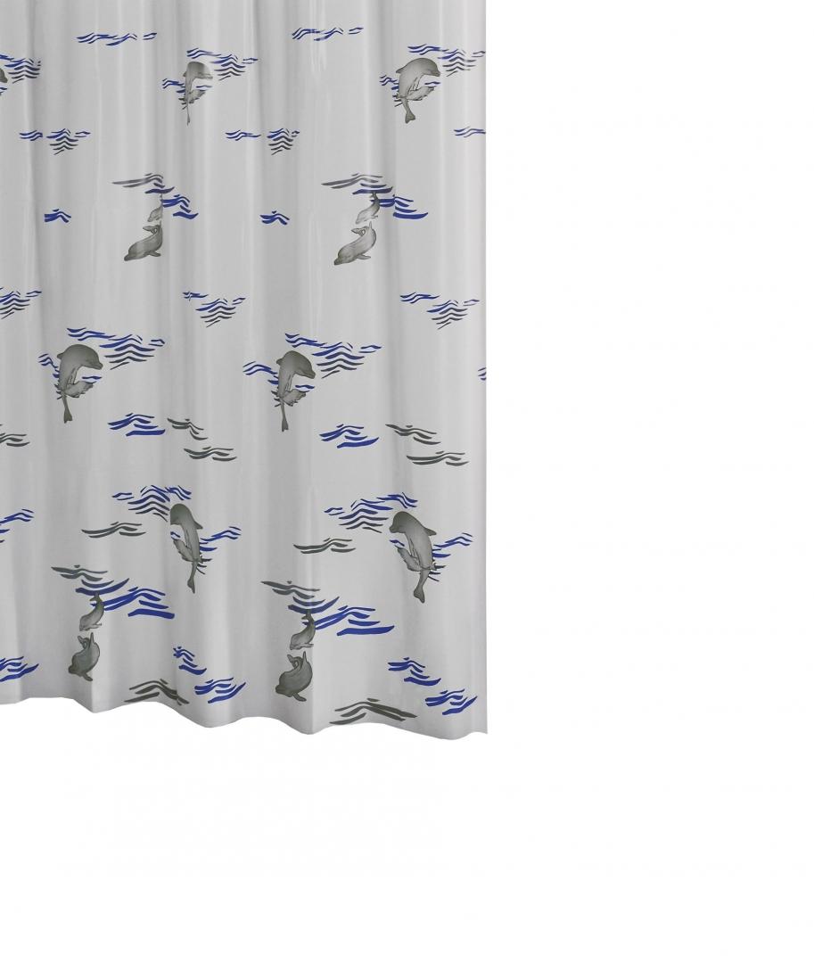 Штора для ванных комнат Delphin синий/голубой 180Х200,