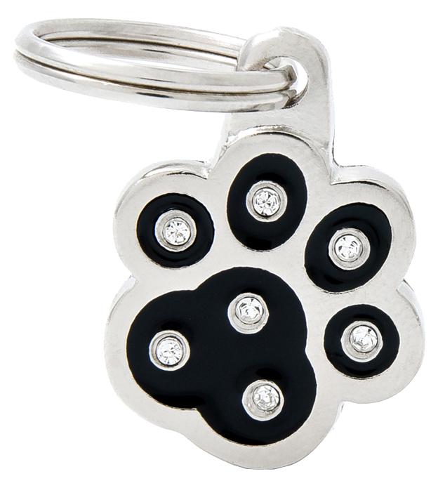 Подвеска для собак My Family брелок-адресник, черная лапка, металл