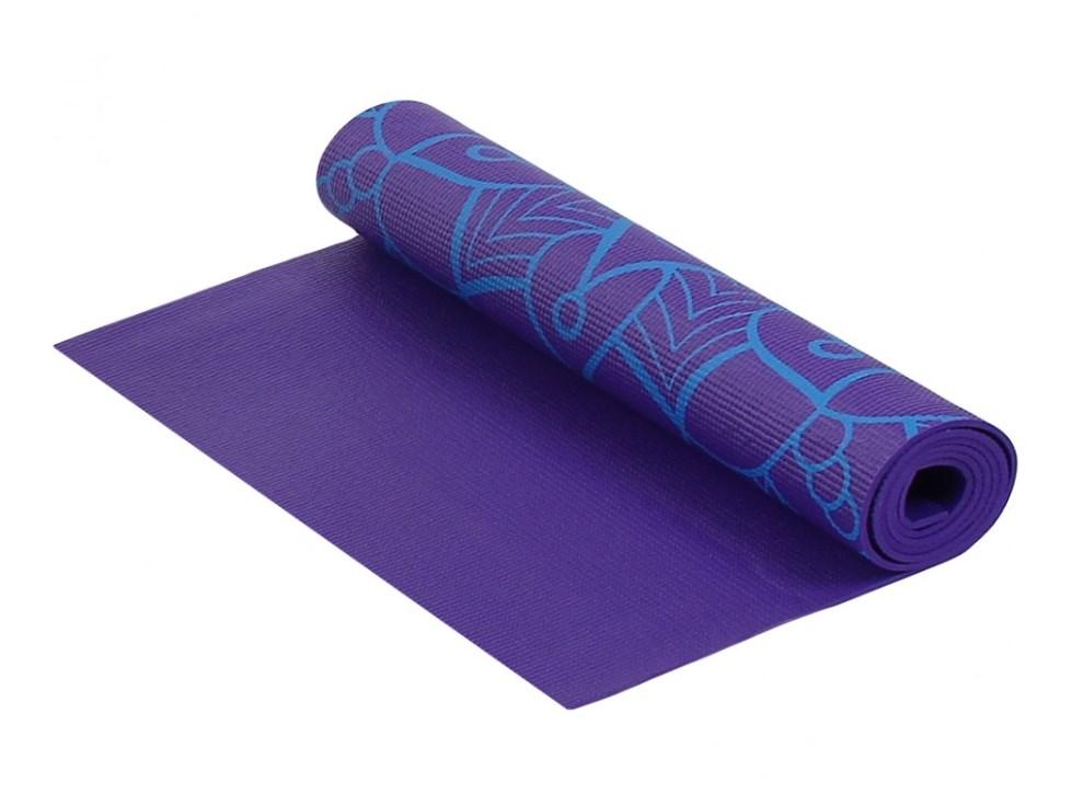Коврик для фитнеса и йоги Larsen PVC фиолетовый с принтом 5 мм 180 см