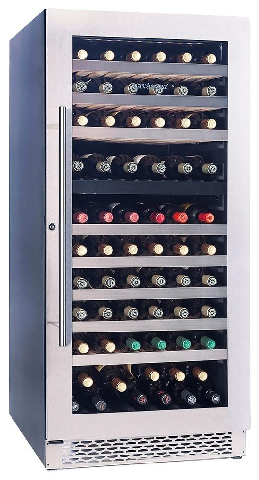 Встраиваемый винный шкаф Cavanova CV120DT черный серебристая дверца