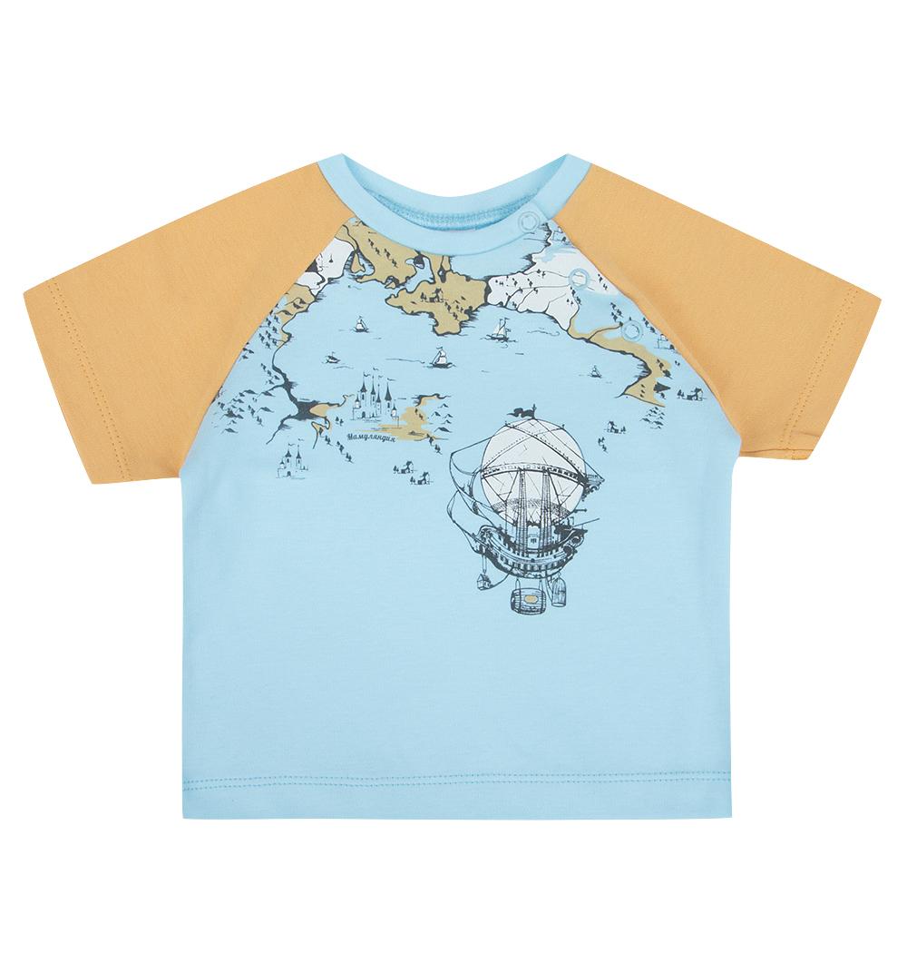 Купить Футболка детская Мамуляндия 17-115 голубой р.68, Детские футболки, топы