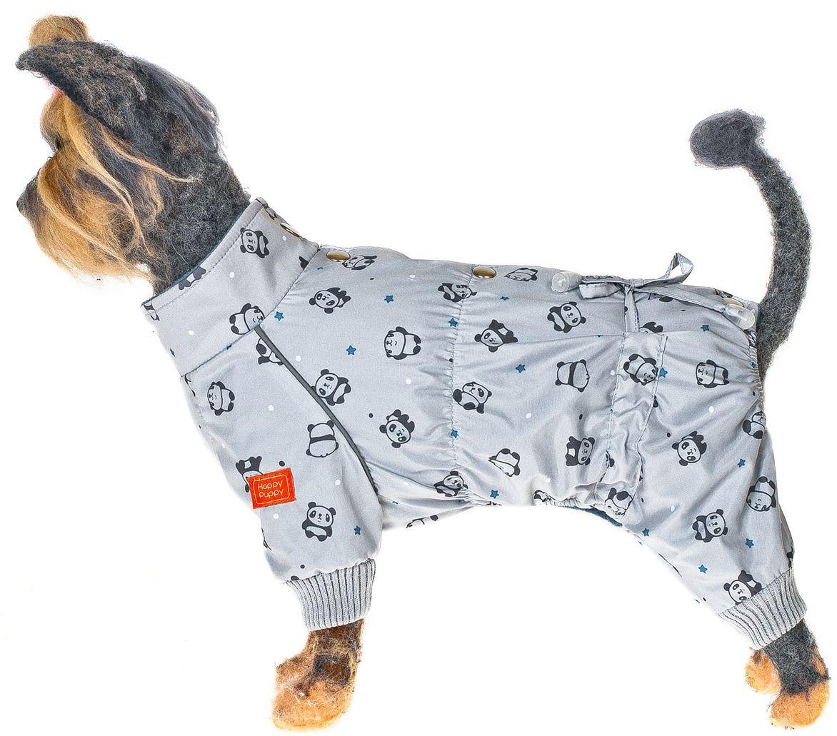 Комбинезон для собак HAPPY PUPPY Панда серый-3 28см.