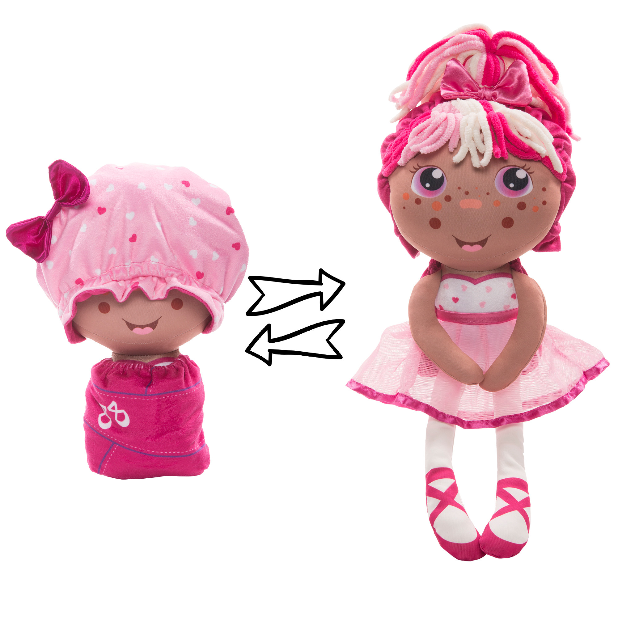 Купить 1 TOY Мягкая игрушка 2 в 1 Девчушка-Вывернушка. Катюшка, 16х14, 5х28, 5 см Т13635, Мягкие игрушки персонажи