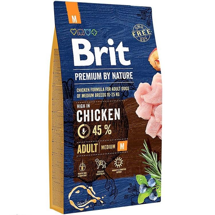Сухой корм для собак средних пород Brit Premium by Nature Adult M с курицей, 8 кг