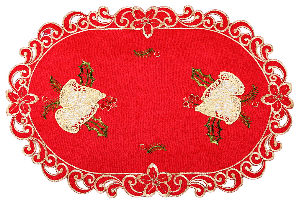Салфетка SANTALINO Колокольчики на красном 829