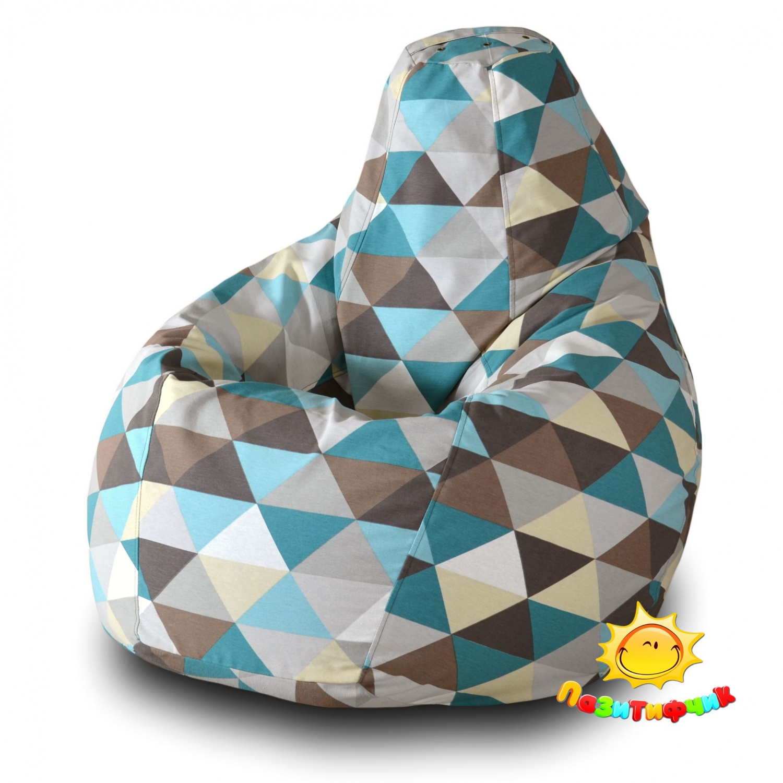 Кресло-мешок Pazitif Груша Пазитифчик Ромб 02, размер L, жаккард, разноцветный фото