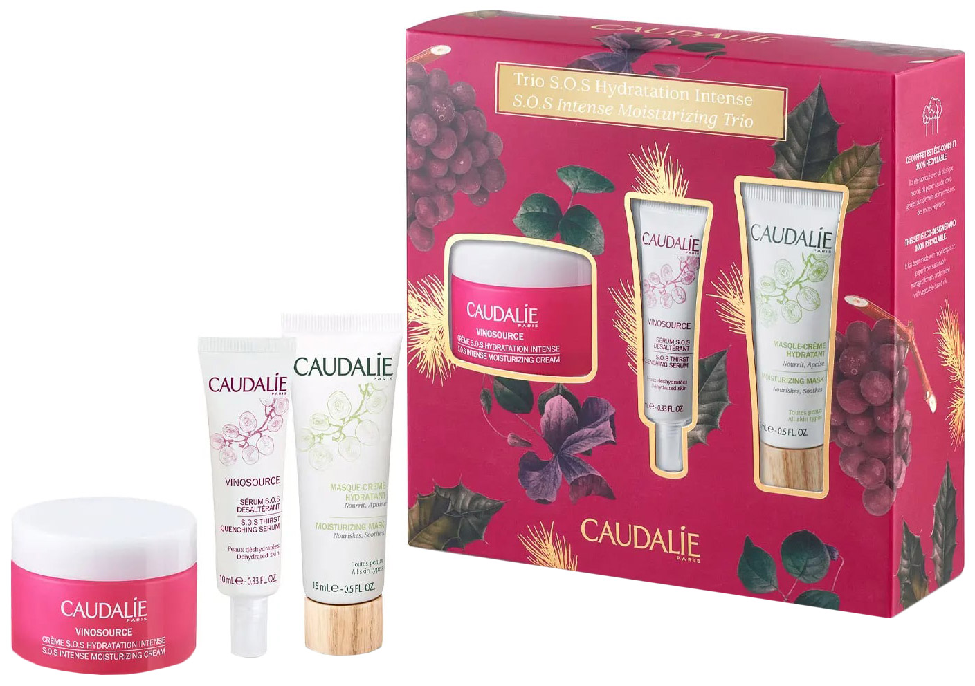 Набор косметики для лица Caudalie Vinosource SOS Hydratation Intense