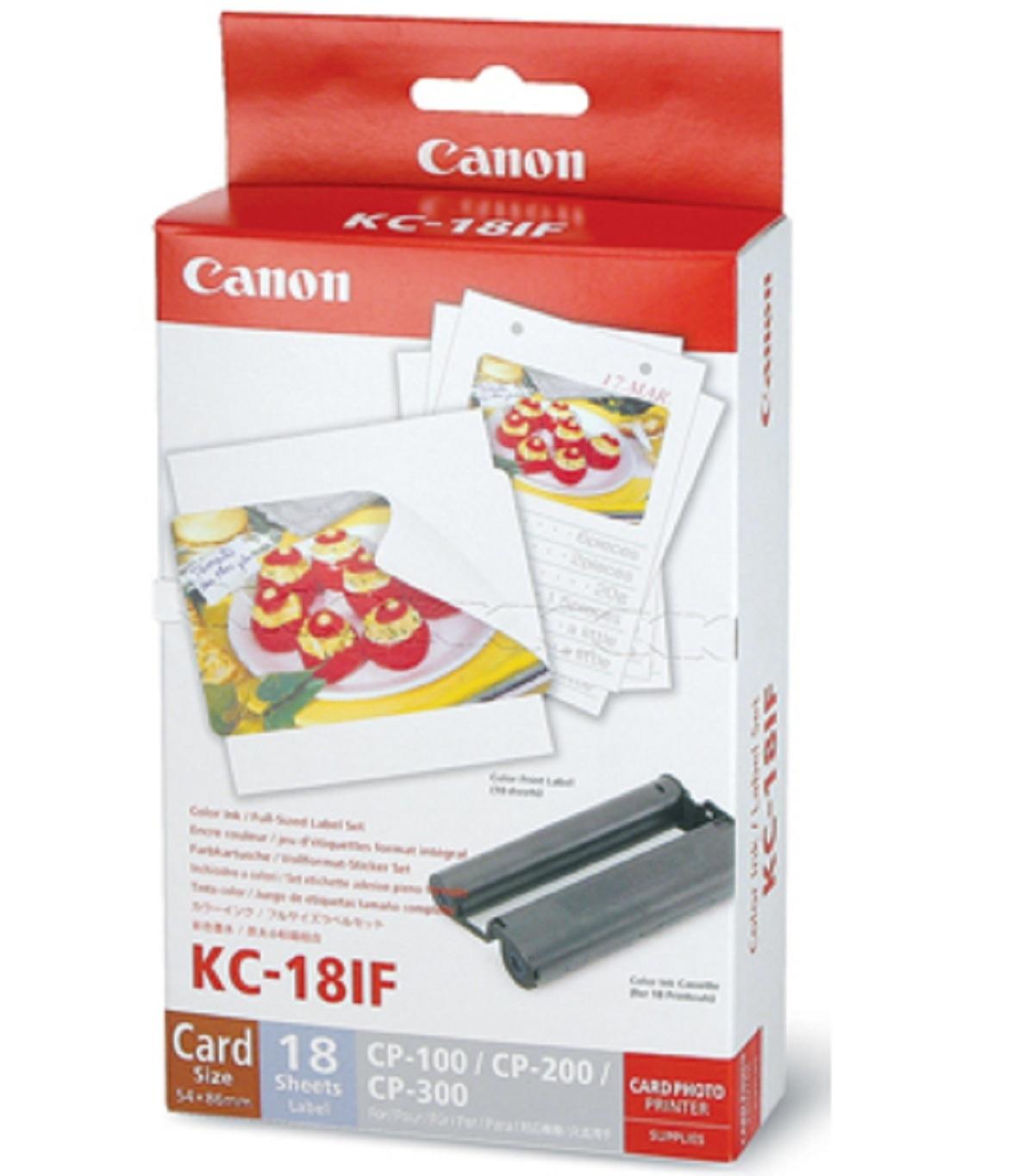 Фотобумага компактного принтера Canon KC-18IF самоклеящаяся 18 листов+картридж набор фотобумаги и чернил KC-18IF