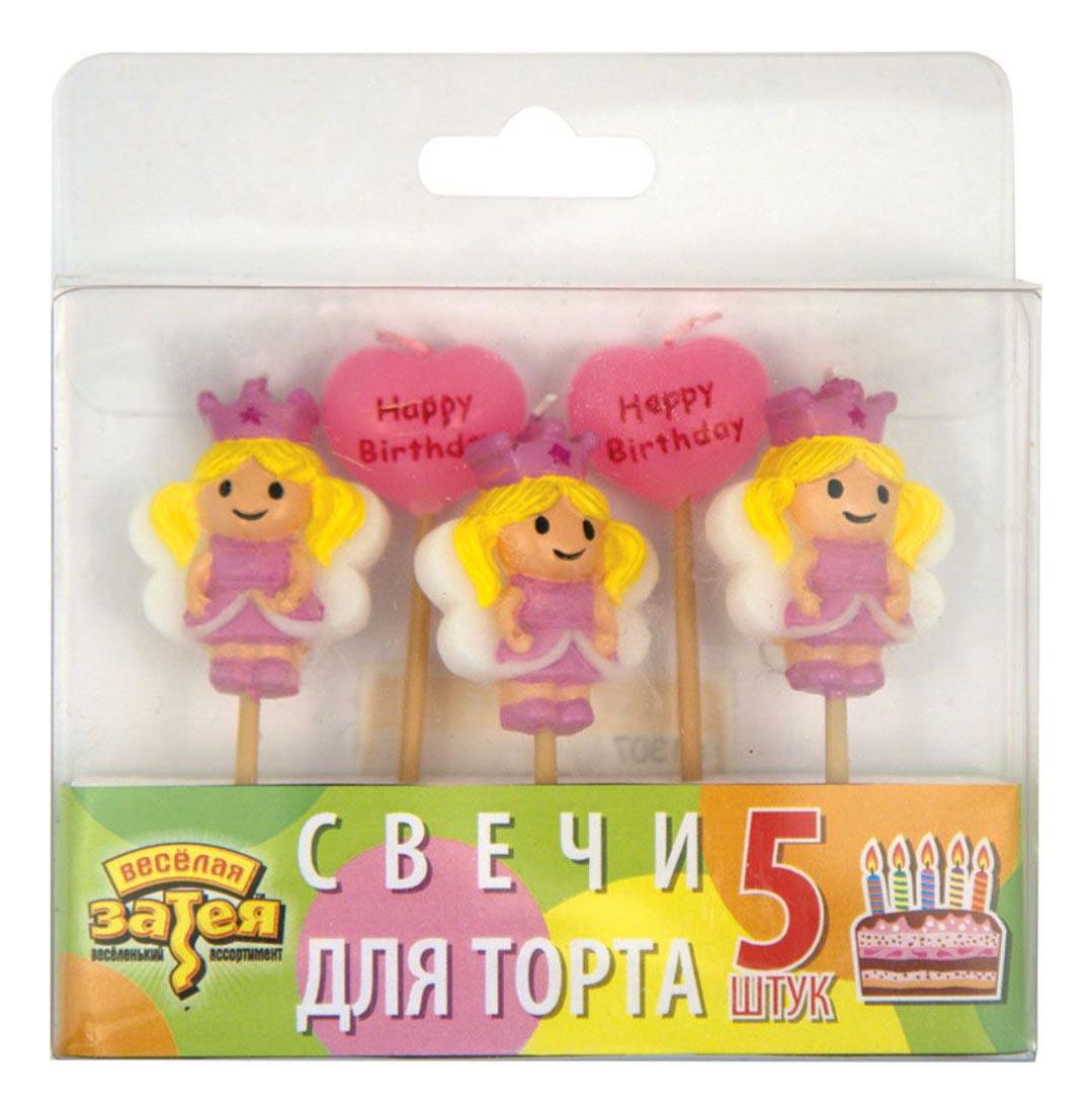 Купить Свеча для торта Amskan Принцессы 5 шт., Свечи праздничные