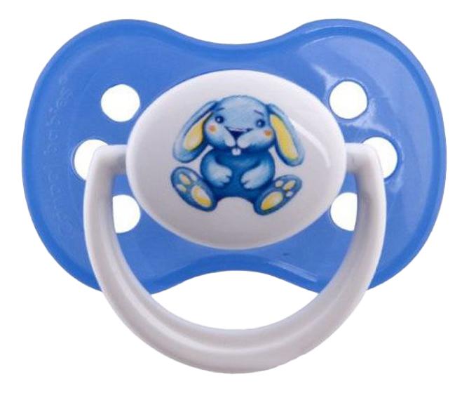 Пустышка силиконовая Зайка 0-6 мес голубая Canpol Babies