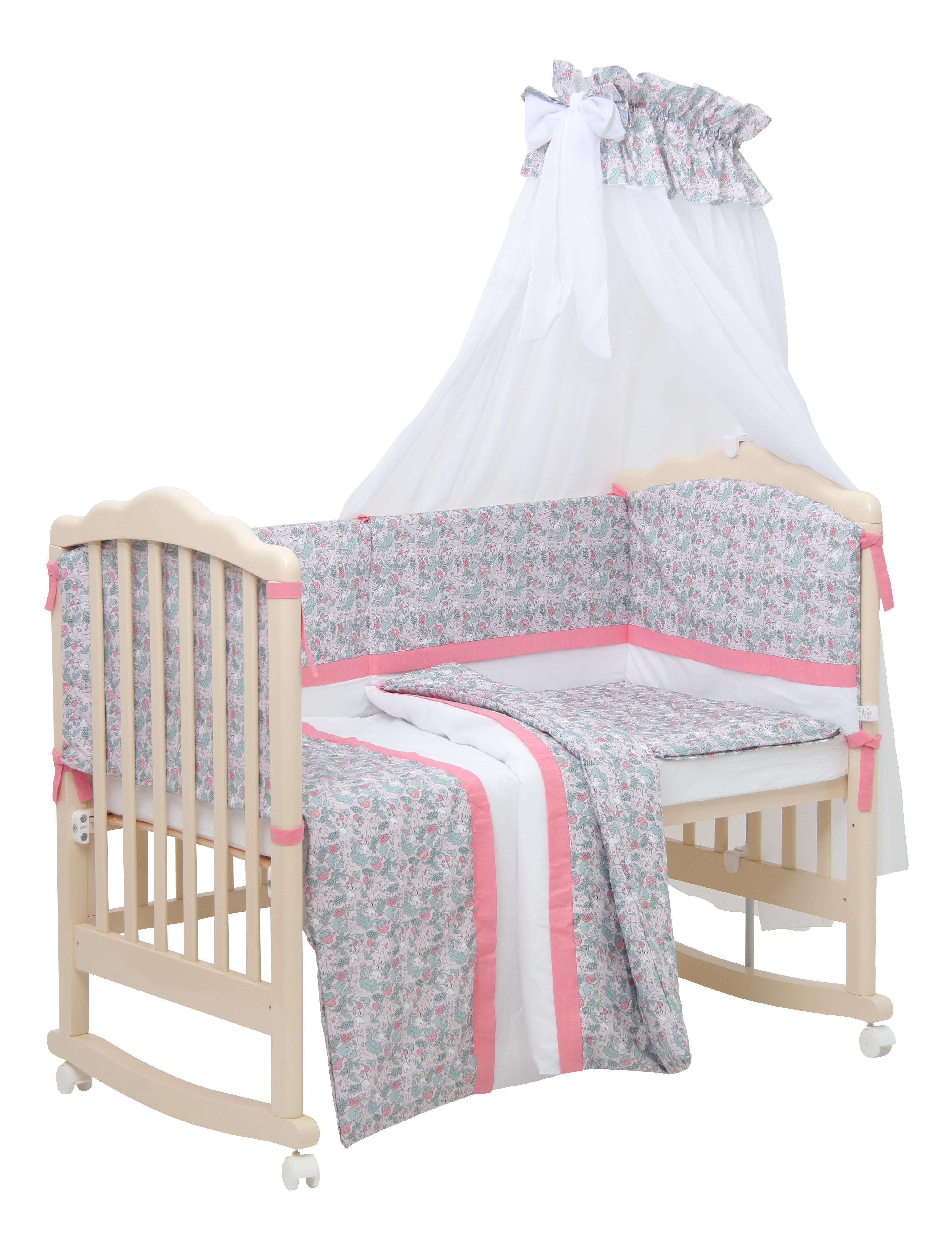 Комплект в кроватку Polini Disney Последний богатырь, 7 предметов, Принцесса розовый