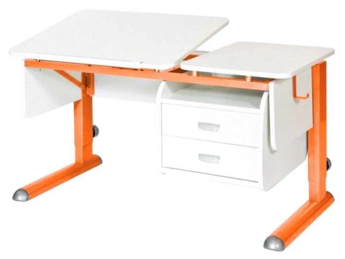 Парта Астек Твин 2 С подвесной тумбой Белый Оранжевый