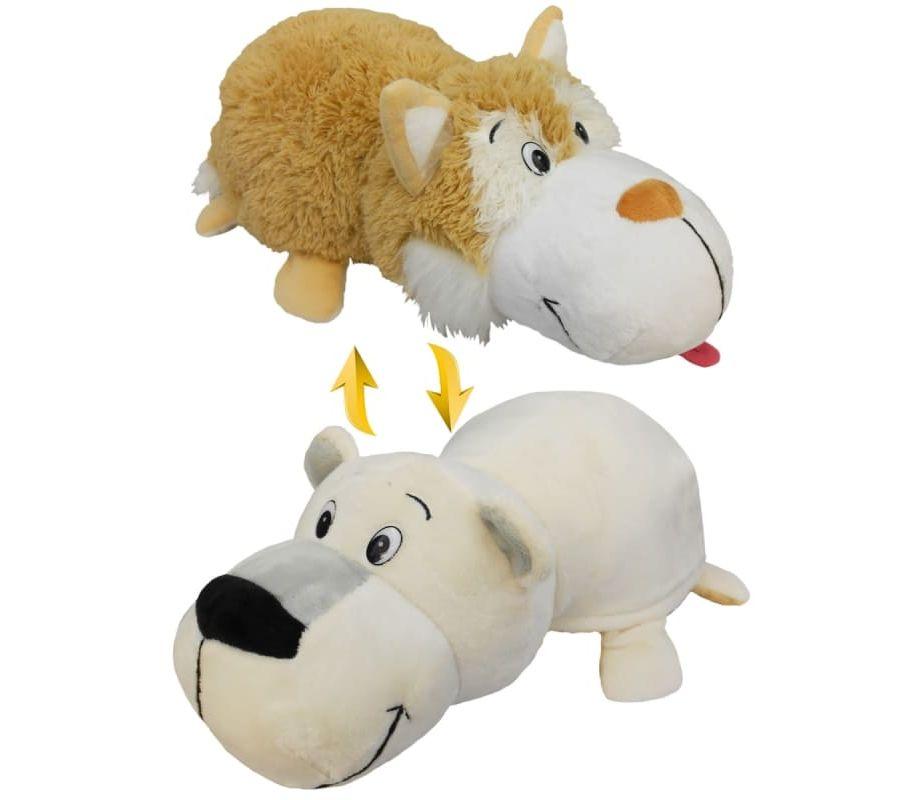 Купить Мягкая игрушка 1 TOY Вывернушка 40 см 2 в 1, коричневый хаски-Полярный Медведь (Т12332), Мягкие игрушки животные