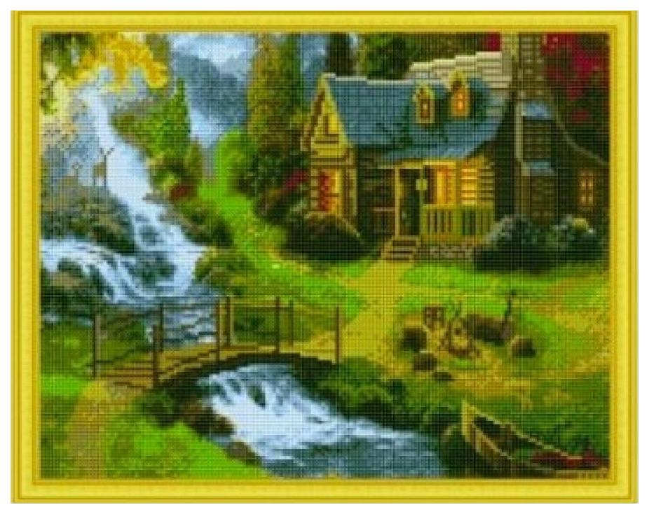 Купить РЫЖИЙ КОТ Алмазная мозаика Дом на опушке, 40x50 см AC4010, Рыжий кот, Мозаики