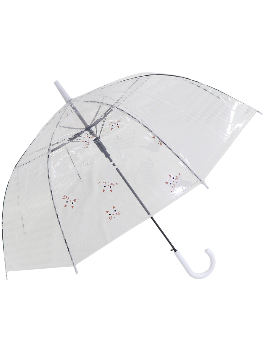 Зонт трость МихиМихи Кошки прозрачный купол, белый