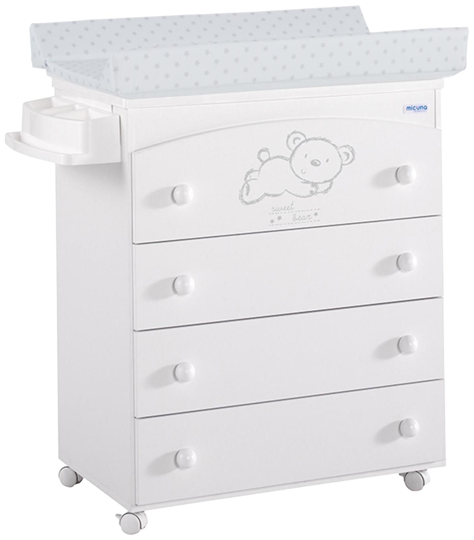 Купить Комод Micuna Sweet Bear (Микуна Свит Бир) пеленальный B-970 white матрасик stars grey, Детские комоды