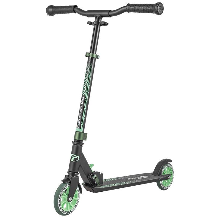 Купить Comfort 125 2022, Городской самокат Tech Team 125 Comfort 2020 черно-зеленый, Самокаты детские двухколесные