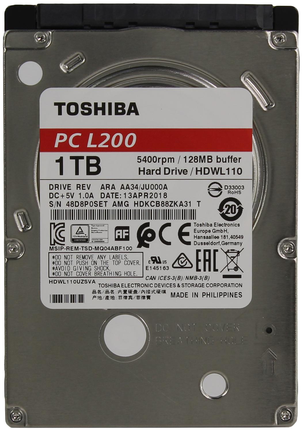 Внутренний жесткий диск Toshiba L200 1TB (HDWL110EZSTA)  - купить со скидкой