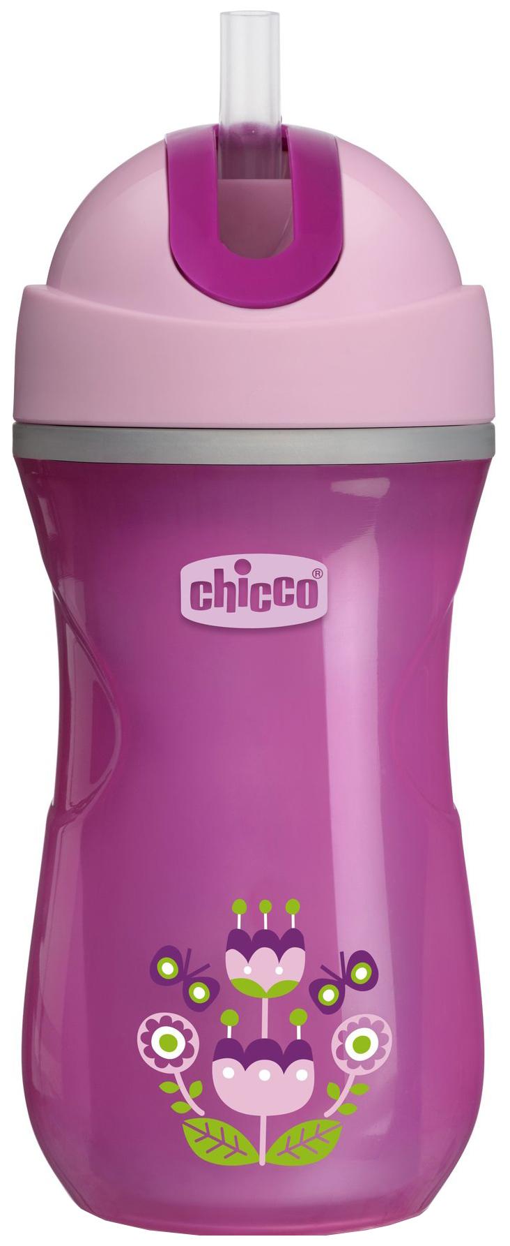 Чашка-поильник Chicco Sport Cup с трубочкой, 266 мл, Розовый фото