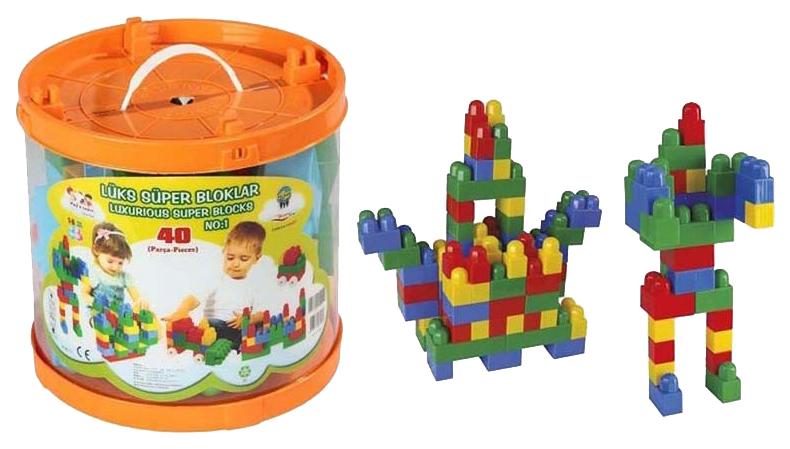 Купить Конструктор пластиковый Pilsan Luxurious Super Blocks №1 40 деталей в ведре, Конструкторы пластмассовые