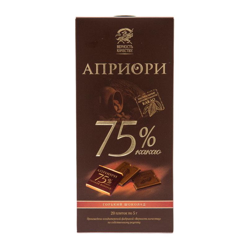 Шоколад горький Верность качеству априори 75% какао 100 г