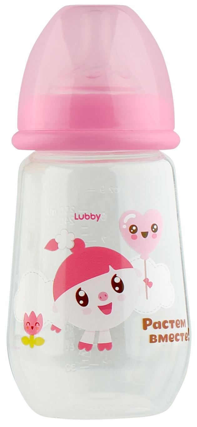 Бутылочка для кормления LUBBY Малышарики от 0 мес 250 мл розовый