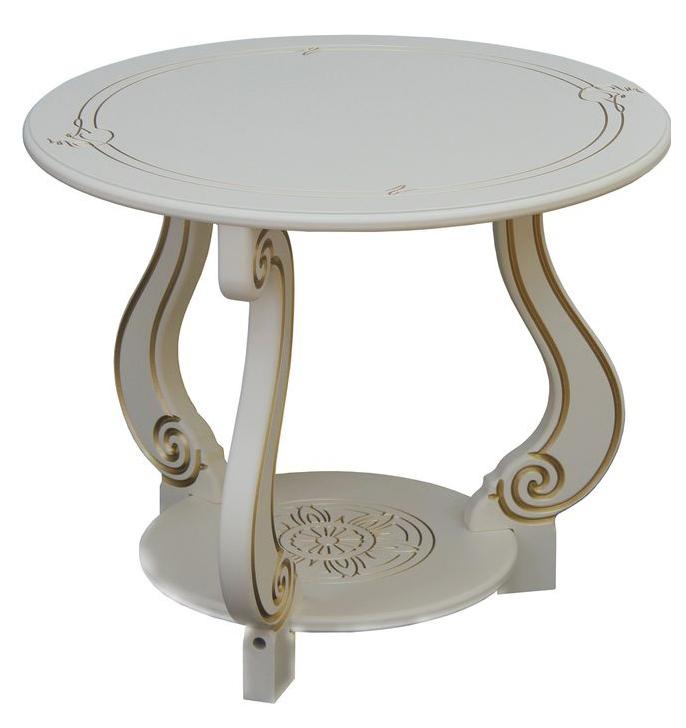Журнальный столик Мебелик Грация (М) 2131 59х59х49 см, слоновая кость/золото