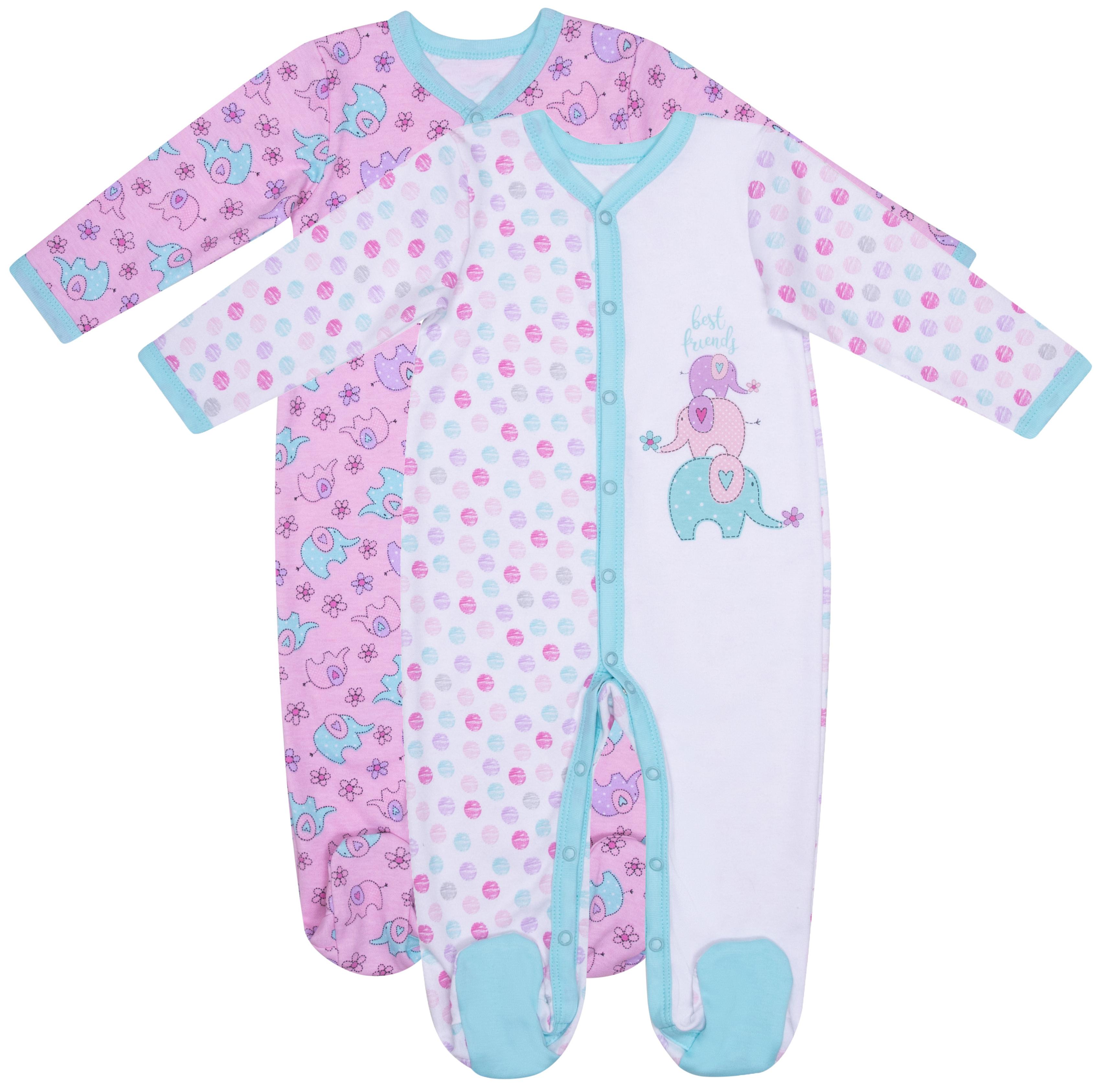Купить Комплект комбинезонов Barkito Мятные слоники 2 шт. белый, розовый р.50, Детские комбинезоны для мальчиков