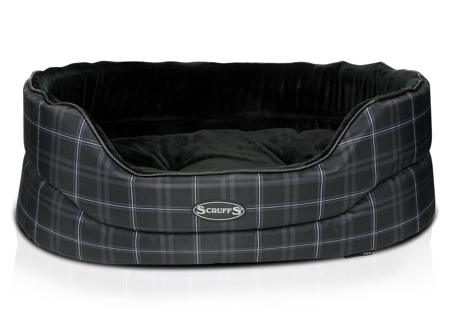 Лежанка для собаки Scruffs плюш 46x65x23см черный