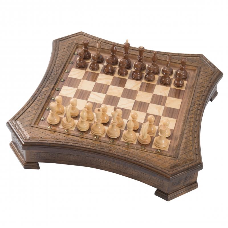 Купить Шахматы резные Haleyan восьмиугольные в ларце 50,