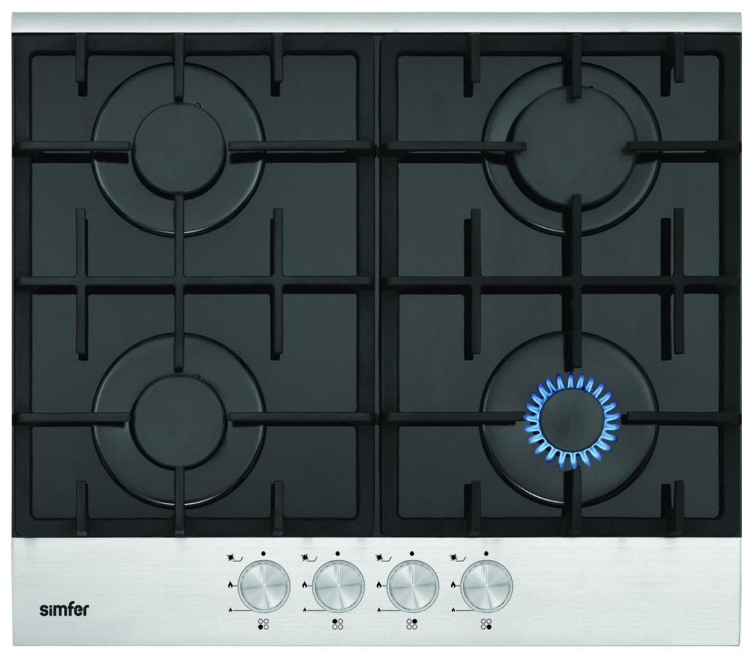 Встраиваемая варочная панель газовая Simfer H60L40B400 Black/Silver