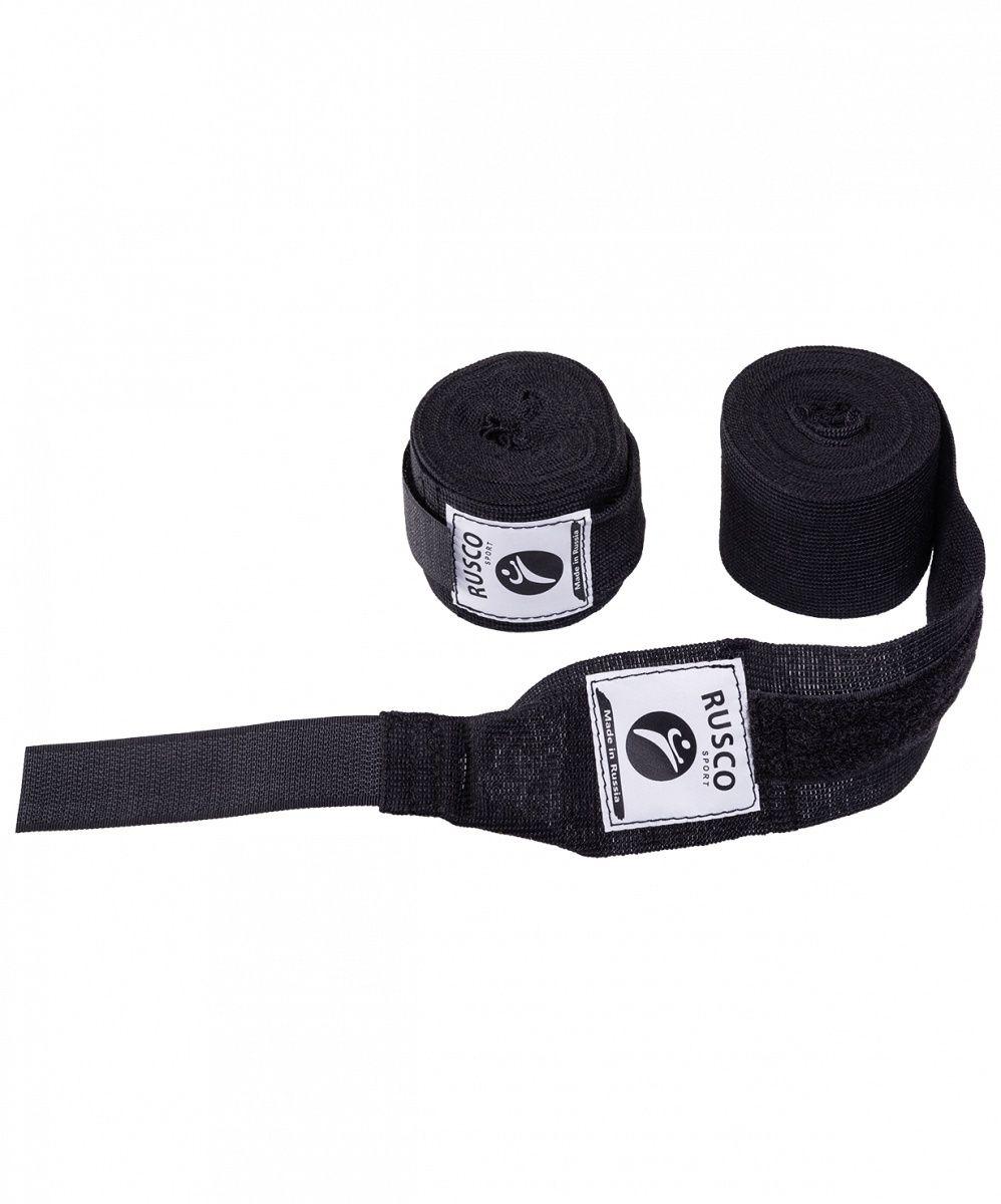 Бинт боксерский Rusco Sport, 3,5 м, хлопок, черный