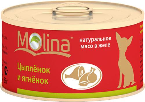 Консервы для собак Molina, цыпленок, ягненок, 85г