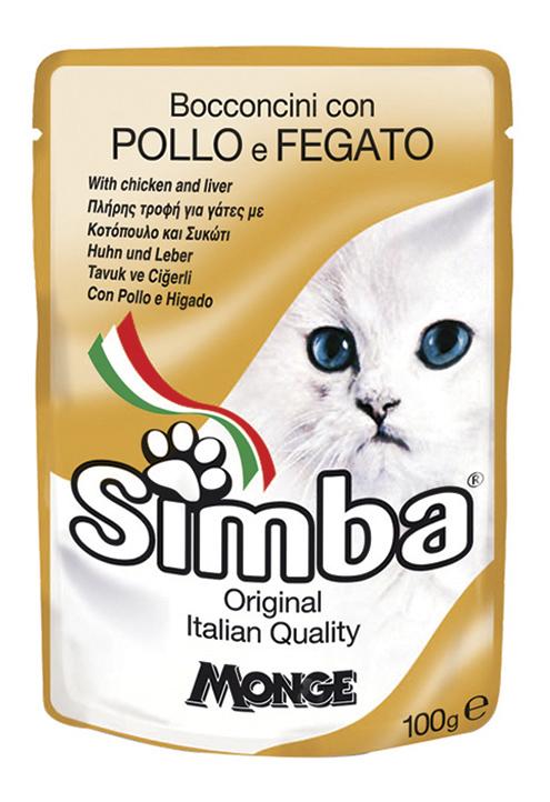 Влажный корм для кошек Simba, курица, 100г, курица, печень 100 г