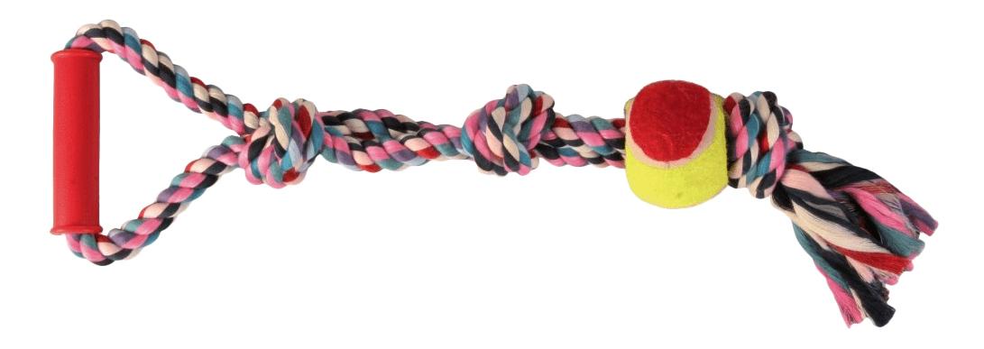 Грейфер для собак TRIXIE Веревка с теннисным мячом, разноцветный, 50 см фото