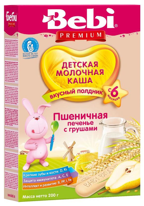 Купить Пшеничная с печеньем и грушей 200 г, Молочная каша Bebi Пшеничная с печеньем и грушей с 6 мес 200 г, Детские каши