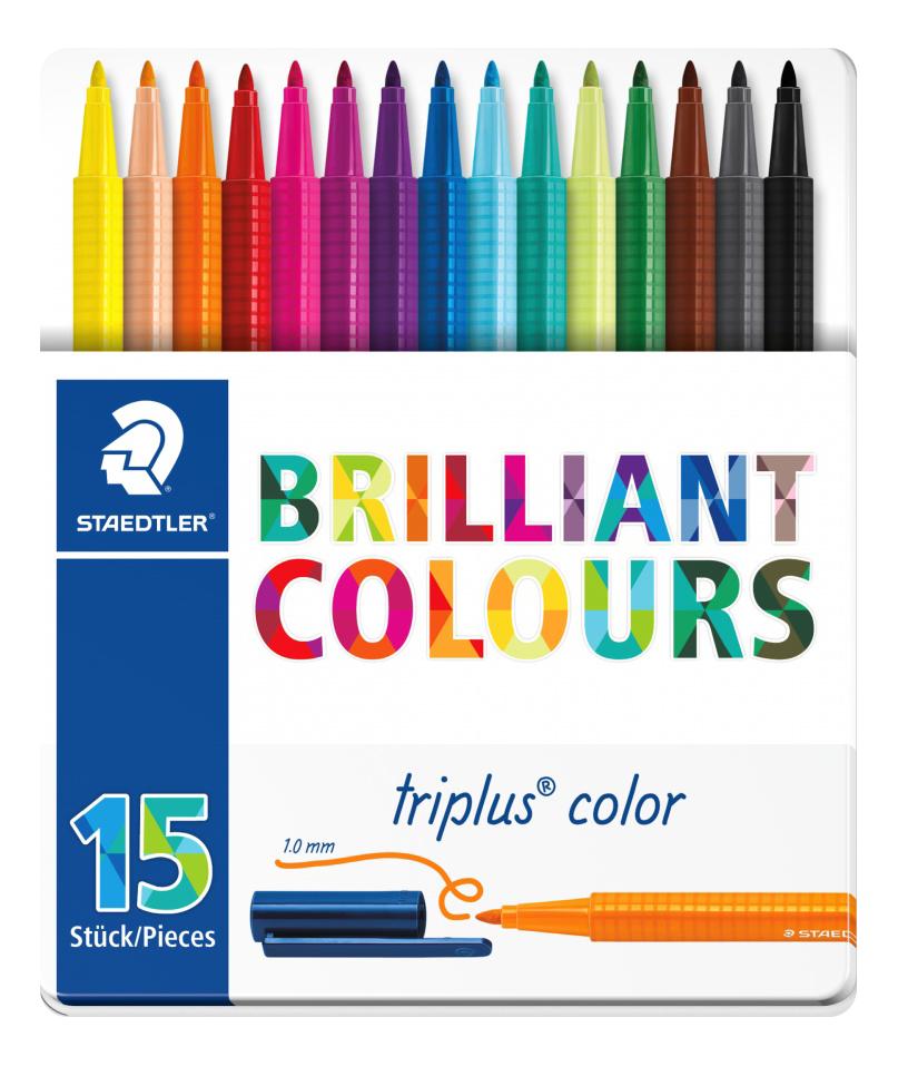 Купить Набор фломастеров Staedtler Яркие цвета 15 цветов трехгранные, Фломастеры