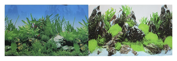Фон для аквариума Prime Растительный/Скалы с растениями 60х150см