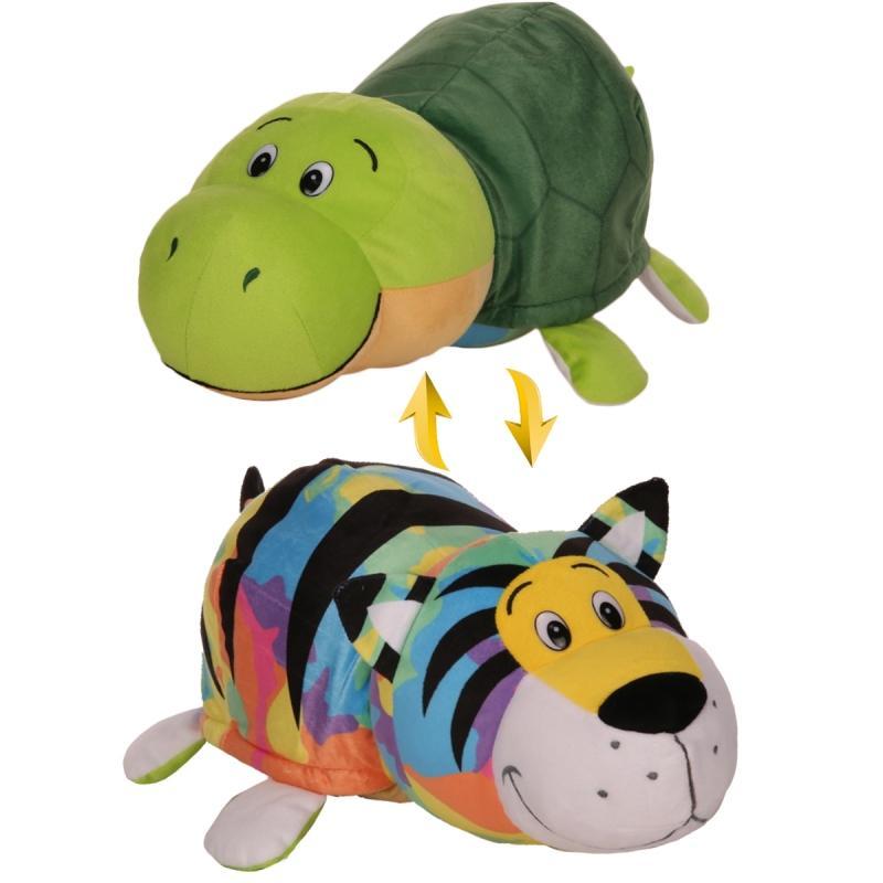 Купить Мягкая игрушка 1 TOY Вывернушка 40 см 2 в 1, Радужный тигр-Черепаха (Т12333), Мягкие игрушки животные