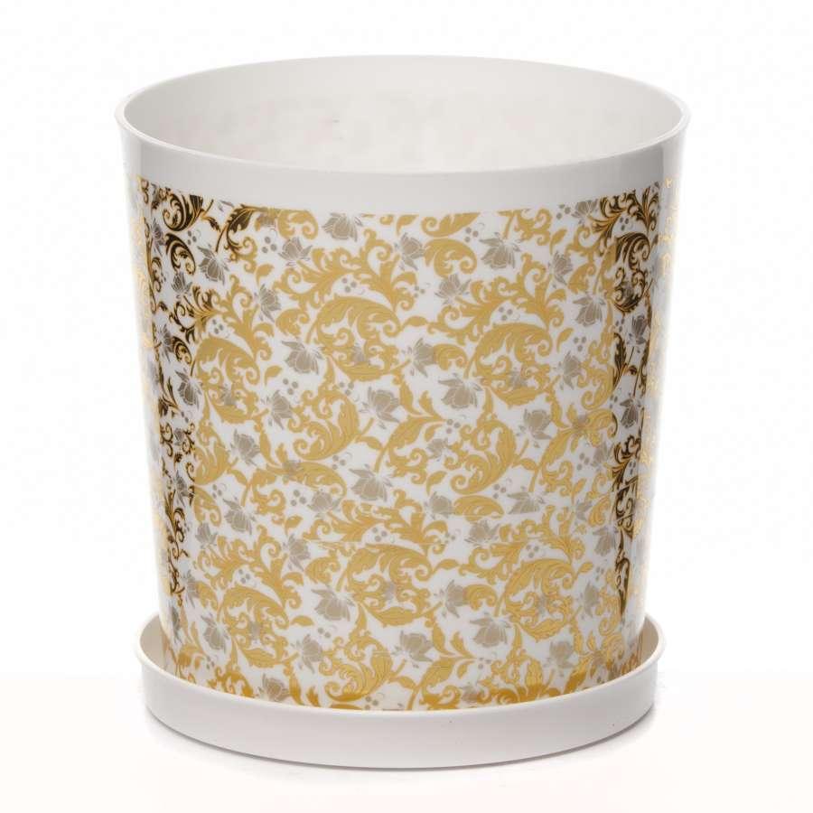 Горшок цветочный с поддоном Золотая осень 1,8 л ( бел.)