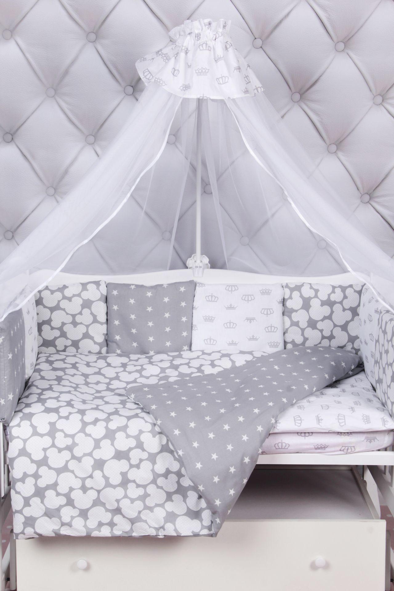 Комплект в кроватку 15 предметов (3+12 подушек-бортиков) AmaroBaby SILVER (серый)