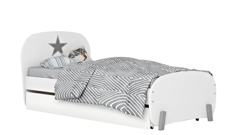 Купить Кровать детская Polini kids Mirum 1915 c ящиком, белый/белый, Детские кровати