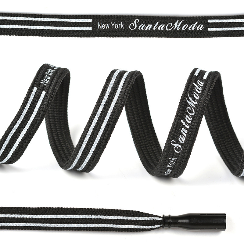 Шнурки для обуви TBY плоские 10 мм 130 см черные белые 50 штук