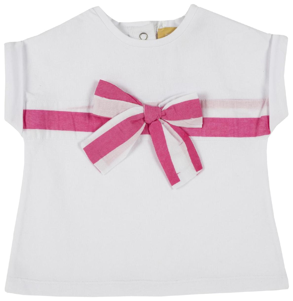 Купить 100885-M, Футболка Chicco, размер 086, бант (бело-розовый), Кофточки, футболки для новорожденных