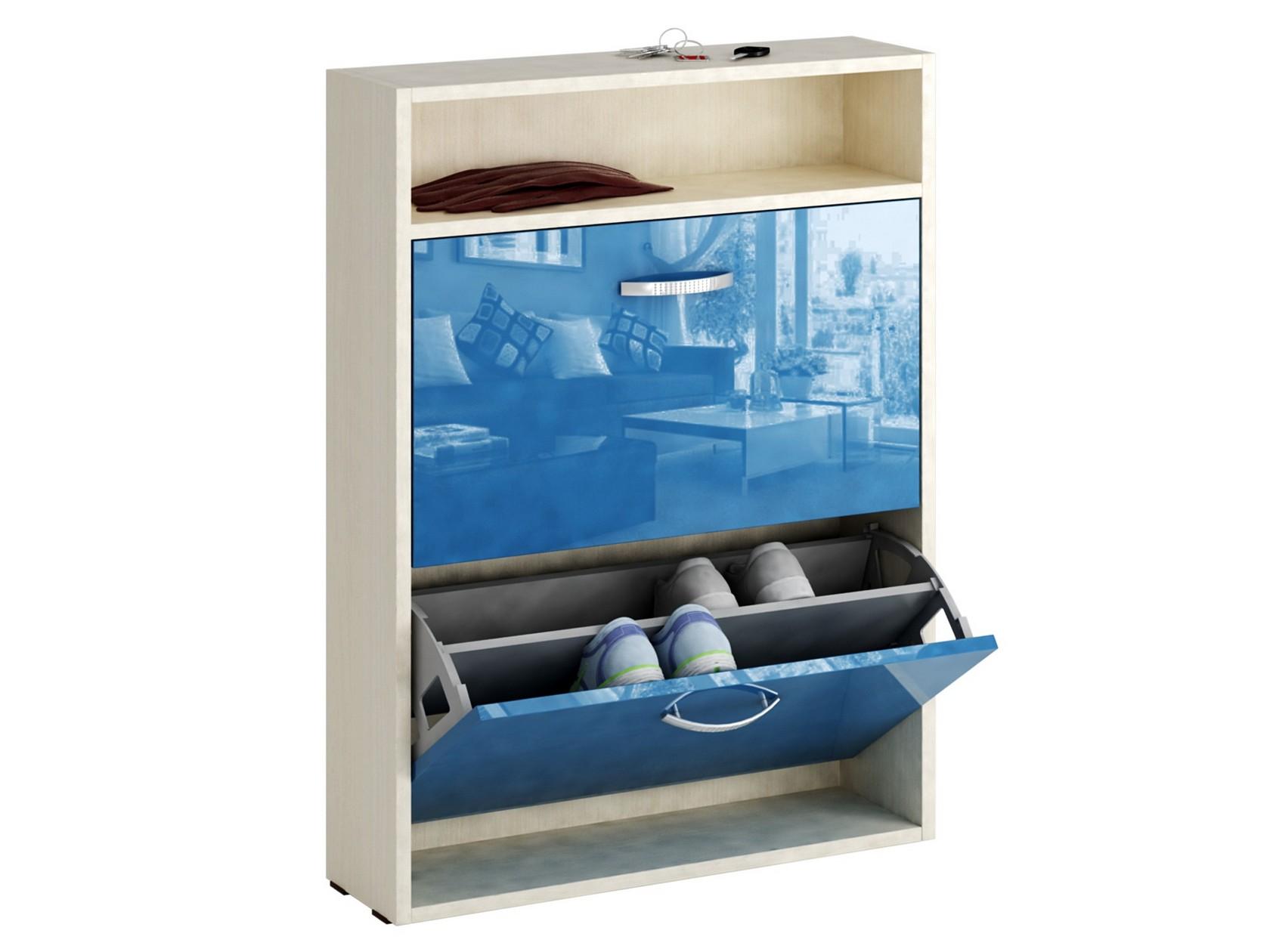 Обувница MFMaster Милан-25 МСТ-ОДМ-25У 60х17х88,2 см, дуб молочный/синий глянец