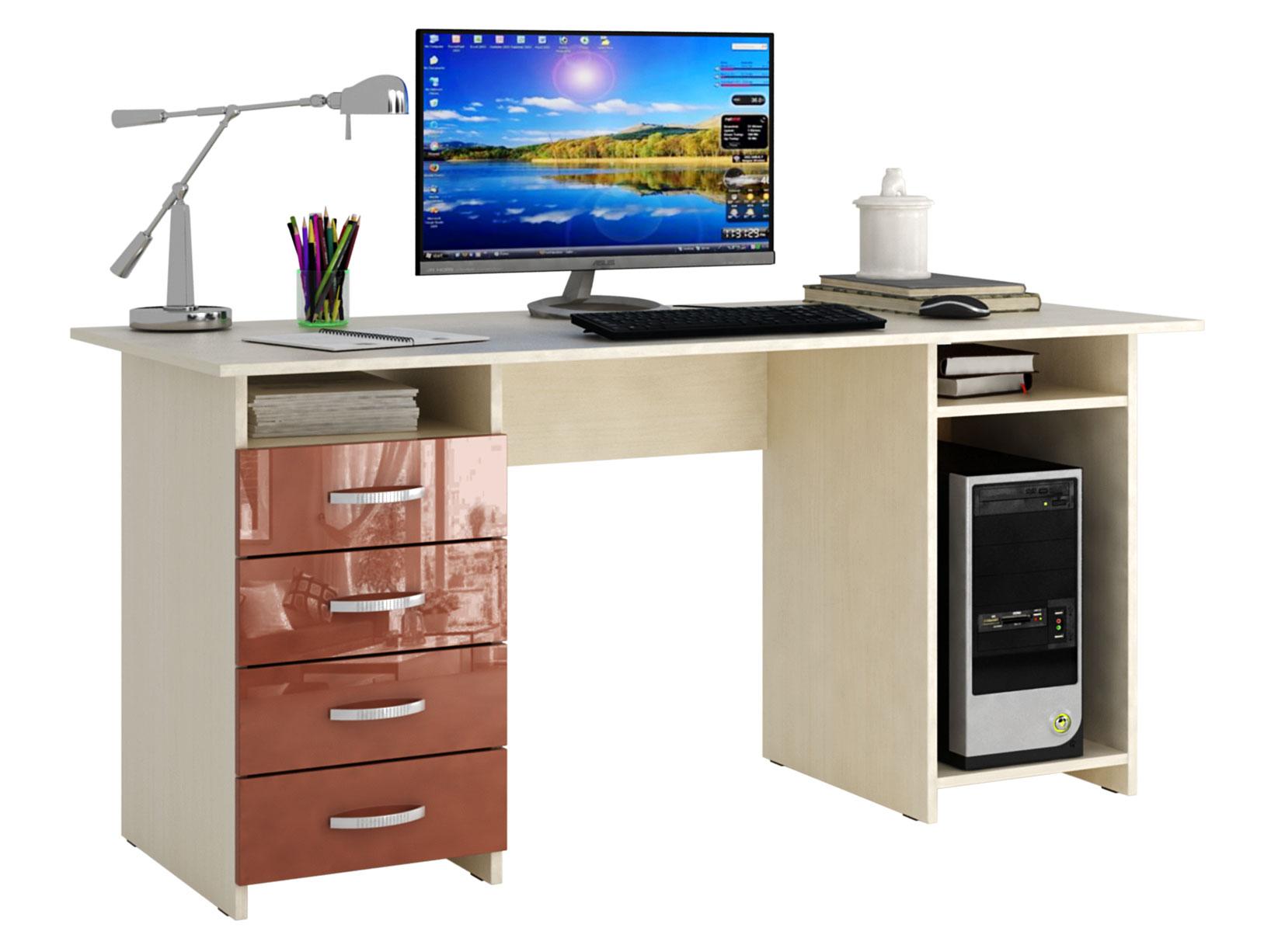 Письменный стол МФ Мастер МСТ-СДМ-06-ГЛ Милан-6 глянец дуб молочный, терракотовый глянец