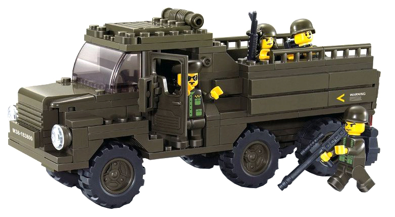 Купить Конструктор пластиковый Sluban Военный грузовик 230 деталей Г79631, Конструкторы пластмассовые