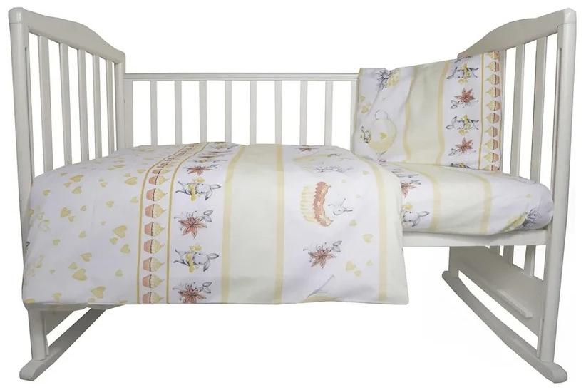 Комплект в кроватку Эдельвейс Чаепитие желтый, 3 предмета фото